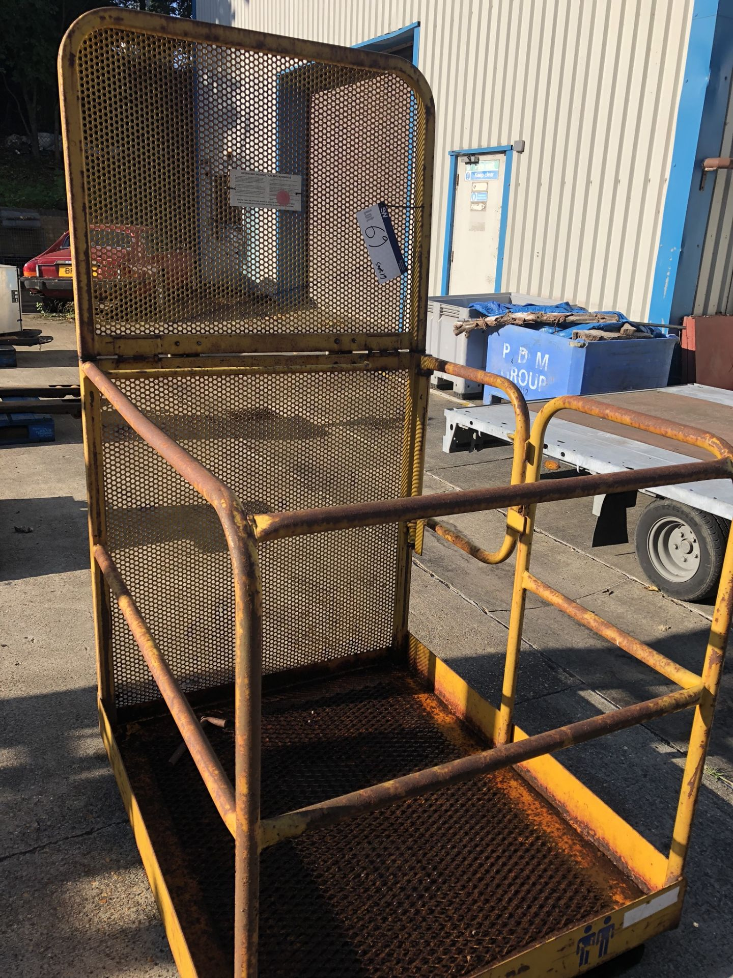 Lot 69 - Fork Lift Personnel Cage, approx. 1m x 1.3m, lift out charge - £20