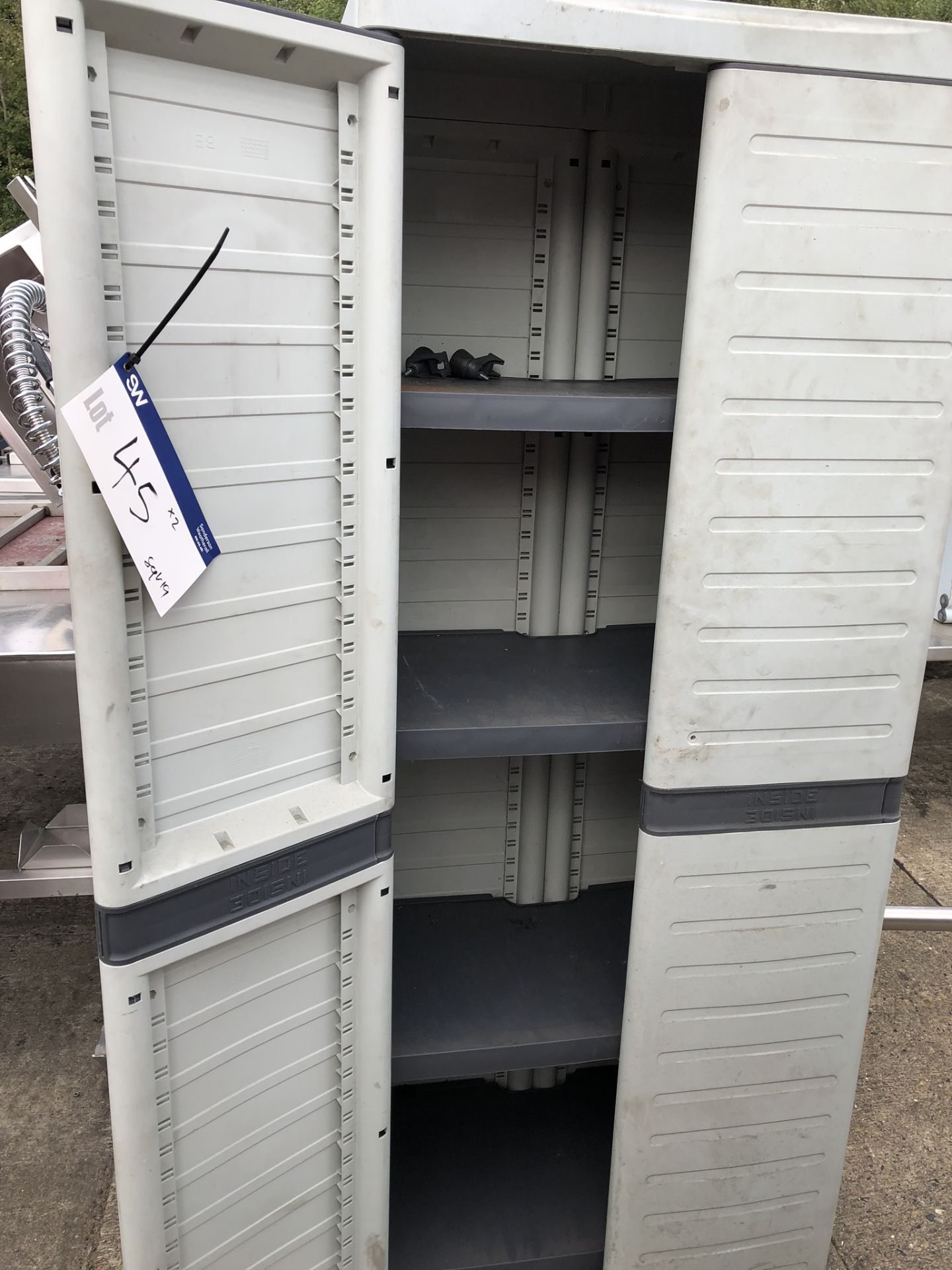 Lotto 45 - Two Plastic Cupboards, approx. 0.7m x 0.5m x 1.8m high, lift out charge - £20