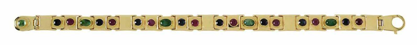 Armband18 K GG, Marken (750). Umlaufend quadratische Glieder, besetzt mit fünf Smaragden in rundem