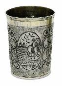 BecherWürzburg, 3. Viertel 17. Jh., Johann Kaiser (Kayser) Silber, Reste von Vergoldung. Konischer