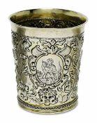 BecherWohl Lübeck, um 1700 Silber, teilvergoldet. Konischer Becher mit leicht ausgestelltem