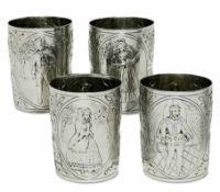 Vier BecherLissabon, 1. Viertel 19. Jh., Antonio Firmo da Costa Silber. Leicht konische Becher mit