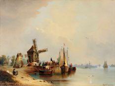Johann Anton Castell, Flusslandschaft mit Windmühle. 1853.Johann Anton Castell 1810 Dresden – 1867