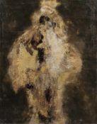 Karl Godeg, Gold- und silberfarbene Komposition vor dunklem Grund. 1964.Karl Godeg 1896