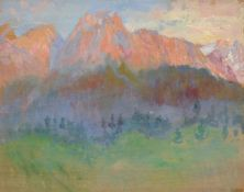 """Ermenegildo Antonio Donadini """"Alpenglühen"""" (Blick auf Waxensteine und Zugspitze). Anfang 20. Jh."""