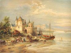 """Heinrich Hiller """"Schloß Beilstein a. [an der] M. [Mosel]"""". Ende 19. Jh.Heinrich Hiller 1846 Berlin –"""