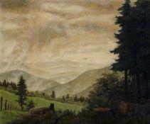 """Karl Godeg """"Aufsteigende Morgennebel"""" (Im Bayrischen Wald am Großen Arber). 1949.Karl Godeg 1896"""