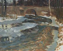 """Otto Altenkirch """"Bobritzschbrücke"""". 1904.Otto Altenkirch 1875 Ziesar – 1945 SiebenlehnÖl auf"""