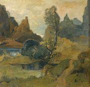 Max Hartwig, Landschaftsidylle mit Teich und Bergen. Anfang 20. Jh.Max Hartwig 1873 München – 1939