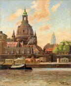 Fritz Leopold Hennig, Dresden - Malerwinkel mit Frauenkirche und Rathausturm. 1930er/1940er Jahre.