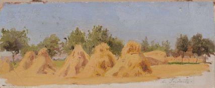Wilhelm Heinrich Schneider, Kornpuppen (Erntelandschaft bei Seidnitz). Wohl 2. H. 19. Jh.Wilhelm
