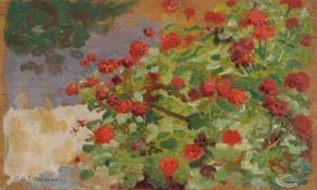Max Pietschmann, Rote Geranien. Wohl um 1900.Max Pietschmann 1865 Dresden – 1952 ebendaÖl auf