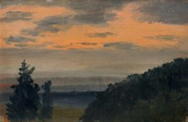 Johan Christian Clausen Dahl (Umkreis / Nachfolge), Morgenstimmung bei Dresden. Wohl um 1830– 1860.