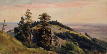 Deutscher Spätromantiker, Riesengebirgslandschaft. Wohl um 1860.Öl auf Leinwand, von späterer Hand