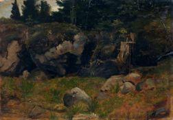 Dresdner (?) Künstler, Felsbrocken am Waldsaum. Wohl um 1860.Öl auf Malpappe, vollflächig auf