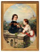 Louise Henriette von Martens, Geschwisterpaar, mit einem zahmen Eichhörnchen spielend. 1860.Louise