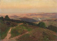 Rudolf Heinrich Schuster (zugeschr.), Weite Hügellandschaft. Spätes 19. Jh.Rudolf Heinrich