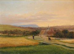 Johann Anton Castell (zugeschr.), Abendliche Landschaft mit Blick auf die Plauener Kirche und den