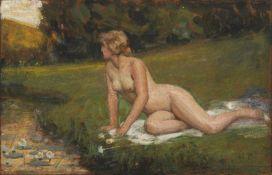 Max Pietschmann, Weiblicher Akt an einem Flusslauf in sommerlicher Landschaft. 1930er Jahre.Max
