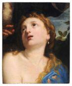 Venezianische Schule, Susanna im Bade. Mitte 17. Jh.Öl auf Leinwand, vollflächig auf eine