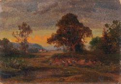 Wilhelm Heinrich Schneider, Baumbestandene Landschaft mit Feldarbeitern / Landarbeiter auf einem
