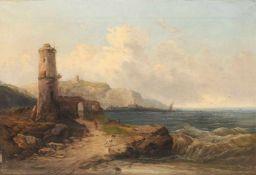 H. Radelof, Küstenlandschaft mit Turm und Ruine (Norwegische Küste-Helsingborg?). 1879.H. Radelof