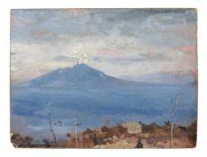 Deutscher Romantiker, Der rauchende Vesuv, im Vordergrund eine Vigna. Mitte 19. Jh.Öl auf Papier,