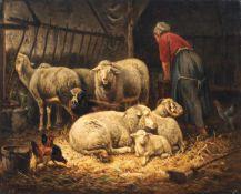 Henri de Beul, Im Schafstall. 1880.Henri de Beul 1845 Dendermonde – 1900 Schaarbeek (Brüssel)Öl