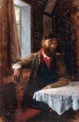 Carl Wilhelm Müller, Mann mit Kappe im Interieur (Selbstbildnis?). 1873.Carl Wilhelm Müller 1839