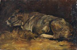 Deutscher Maler, Ruhendes Rind. 19. Jh.Öl auf Leinwand, vollflächig auf fester Pappe kaschiert.