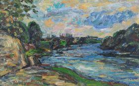 "Fredo Bley ""Flusslandschaft"". 1981.Fredo Bley 1929 Mylau – 2010 Reichenbach (Vogtland)Öl auf"