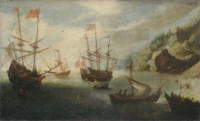Andries van Eertvelt (zugeschr.), Mediterrane Küstenlandschaft mit Segelschiffen. 17. Jh.Andries van