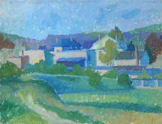"""Alexander Dose """"Häuser in Kleinzschachwitz"""" (Dresden). Um 1964.Alexander Dose 1931 Erfurt – 2007"""