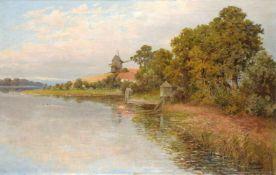 Albert Ernst Mühlig, Bockwindmühle an der Elbe (?). Wohl 1890er Jahre.Albert Ernst Mühlig 1862