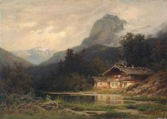 """Julius Monien """"Landschaft aus Südbaiern"""". 1880er Jahre.Julius Monien 1842 Königsberg – 1897"""
