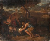 Römische Schule, Mythologische Szene. Spätes 17. Jh.Öl auf Leinwand, auf eine zweite Leinwand
