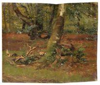 Deutscher Spätromantiker, Waldstudie. Wohl 3. Viertel 19. Jh.Öl auf Leinwand, vollflächig auf Holz