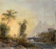 Unbekannter Künstler, Italienische Landschaft mit Stadt am Fluss. 18. Jh.Öl auf Holz. Unsigniert. In
