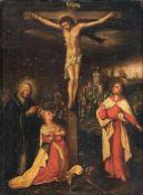 Deutscher Künstler, Jesus am Kreuz. Wohl 17. Jh.Öl auf Holz. Unsigniert. Verso mit Resten eines
