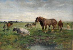 Albert Heinrich Brendel, Weidelandschaft mit Pferden und Kühen. Wohl 1860er Jahre.Albert Heinrich