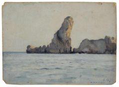 Max Pietschmann, Blick auf die Aiguilles Rocheuses auf der Belle-Île, Bretagne. 1891.Max Pietschmann