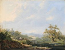 Carl Ferdinand Sprosse (zugeschr.), Blick aus der böhmischen Schweiz auf den Königstein. Mitte 19.
