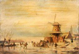 Holländischer Künstler, Winterliches Treiben auf dem zugefrorenen See. 19. Jh.Öl auf Holz.