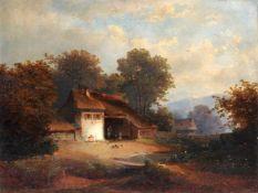 Wilhelm Heinrich Schneider, Landschaft mit kleinem Gehöft (links). 2. H. 19. Jh.Wilhelm Heinrich