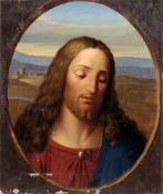 Unbekannter Künstler, Christuskopf. 1. Viertel 19. Jh.Öl auf Pergament, kaschiert. Unsigniert.