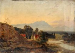 Franz Reder-Broili, Alpenländischer Steinbruch am Dorfrand im Abendlicht. Spätes 19. Jh.Franz