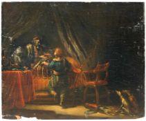 Niederländische Schule, Bericht von der Jagd am Krankenbett. Wohl 1687.Öl auf Holz. U.li. undeutlich