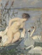 Max Pietschmann, Weiblicher Akt im Boot mit Schwänen. 1930er Jahre.Max Pietschmann 1865 Dresden –