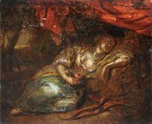 Unbekannter Künstler, Schlafende Diana. Wohl 17. Jh.Öl auf Holz. Unsigniert.Malschicht mit
