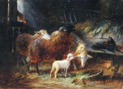 Friedrich Otto Gebler, Schafe im Stall. Ende 19. Jh.Friedrich Otto Gebler 1838 Dresden – 1917